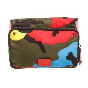 Valentino Psychedelic Camo Nylon Leather Clutch